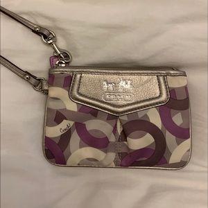 satin champaign/purple coach wristlet